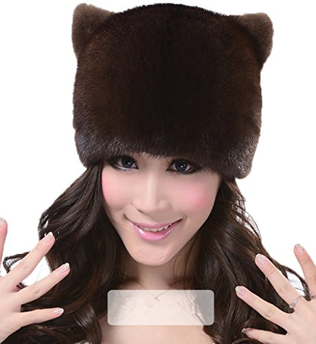 YR Lover Women's Mink Fur Winter Cute Orecchiette earflaps Small Hat Beret