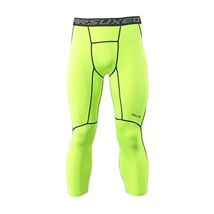 emansmoer Hombre Compresión Sports Stretchy - Mallas 3/4 ...