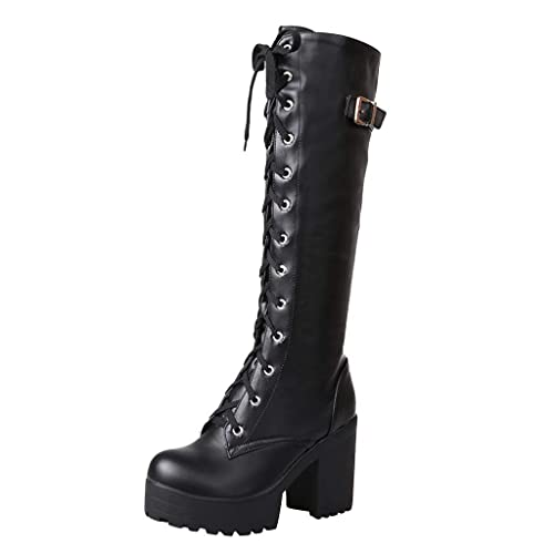 Women's Gothic Punk Slouch Combat Boots Over Knee High Cow