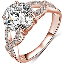 LuckyWeng New Exquisite Fashion Jewelry Hot Sale Rose Gold Cross Austrian Crystal Diamond Zircon Ring