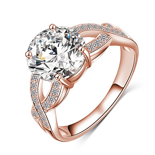 Discount LuckyWeng New Exquisite Fashion Jewelry Hot Sale Rose Gold Cross Austrian Crystal Diamond Zircon Ring