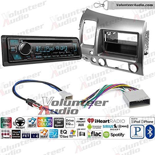 Volunteer Audio Kenwood KDC-BT375U Single Din Radio Install Kit with Bluetooth, Sirius XM Ready, CD Player, USB/AUX Fits 2006-2011 Honda Civic (Dark Atlas Grey)