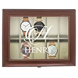 Personalized Watch Storage Box - Custom Engraved Watch Holder Case (Brown)
