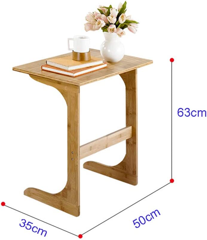 Over Bed Table 50x35x63cm Wood Color Qulong C Shaped Sofa Side End Table Home Mobile Small Coffee Table Modern Bedside Lazy Table Notebook Table Tables