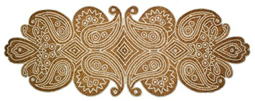 Cotton Craft - Beaded Table Runner - Paisley - Ivory Gold -