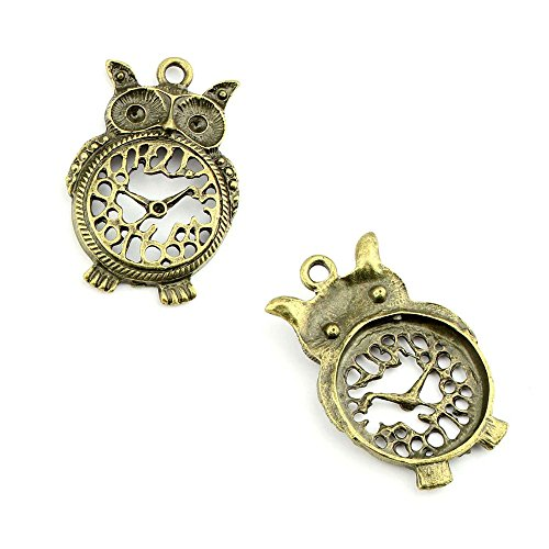 1pcs Jewelry Making Charms Jewellery Charme Antique Bronze Tone Fashion Finding for Necklace Bracelet Pendant Crafting Earrings HY024 Owl Clock (Bluestone Necklace)