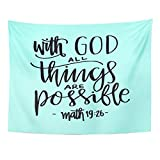 Breezat Tapestry Believe All Things Are Possible Quote Modern Calligraphy Bible Verse Biblical Home Decor Wall Hanging for Living Room Bedroom Dorm 60x80 Inches