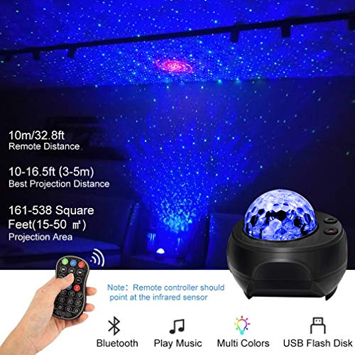 Star Light Projector Galaxy Projector BUBUSAN Skylight Light for Bedroom Ceiling,LED Starry NightLight Moving Ocean Wave Lamp with Remote, Bluetooth Music Speaker for Kids and Adults.