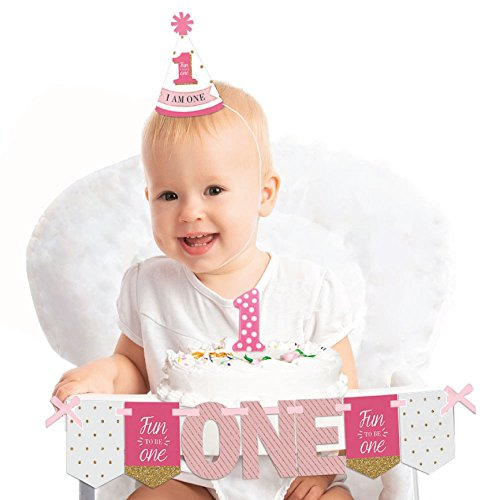 Big Dot of Happiness 1st Birthday Girl - Fun to be One 1st Birthday - First Birthday Girl Smash Cake Decorating Kit - High Chair Decorations ()