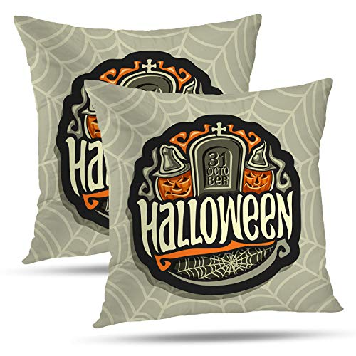 Batmerry Halloween Pillow Covers 18x18 inch Set of 2, Halloween Holiday Gray Tombstone Smiling Characters Orange Pumpkins Throw Pillows Covers Sofa Cushion Cover Pillowcase]()