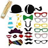 Tinksky A Set of 22pcs DIY Funny Glasses Moustache Red Lips Ties Hats On Sticks Christmas Wedding Birthday Party Photographing Photo Booth Props