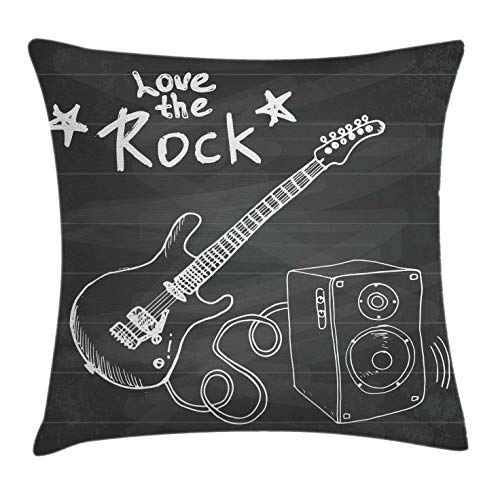 Ambesonne Guitar Throw Pillow Cushion Cover, Love The Rock Music Themed Sketch Art Sound Box and Text on Chalkboard, Decorative Square Accent Pillow Case, 16 X 16, Charcoal White