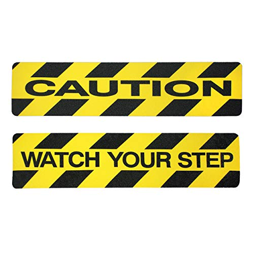 """Caution & Watch Your Step non-slip Stair Treads. 2 PACK. 6"""" x 24"""" Self-adhesive Black & Yellow Safety Marker. Help Prevent Falls. Anti-Slip for workplace/home safety. Indoor/outdoor grip tape"""