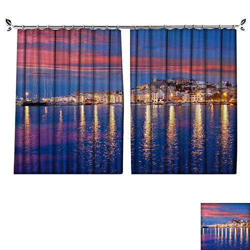 DESPKON Decoration Polyester Material Ibiza Island Night View of Eivissa Town and sea Lights Reflection for Children's Room W72 x L63