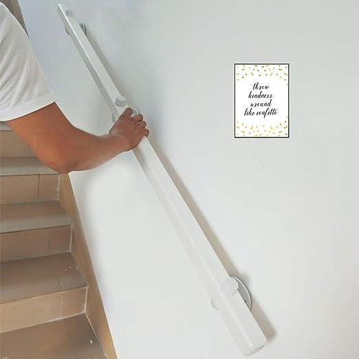 LTFS Madera Maciza barandilla de la Pared de la Escalera barandilla, Barandillas de Escalera Blanco, con Soporte de Montaje de Hierro, Interior y Exterior Barandilla Antideslizante: Amazon.es: Hogar