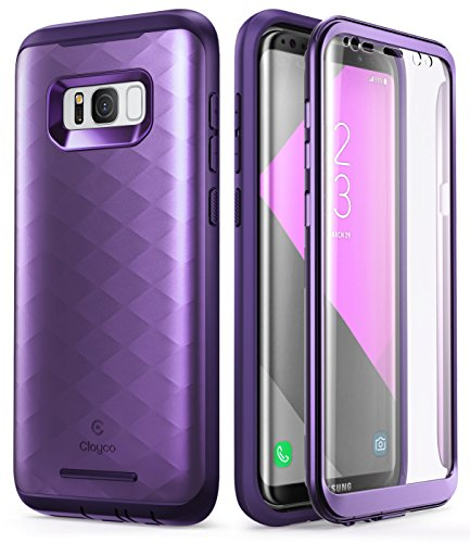Samsung Galaxy S8 Plus Case, Clayco [Hera Series] Full-Body Rugged Case with Built-in Screen Protector for Samsung Galaxy S8 Plus (2017 Release) (Purple)