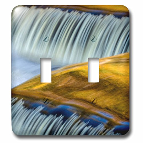 Bond Clock Metal (3dRose Danita Delimont - Waterfalls - Yellow and gold on the Ontonagon River, Bond Falls, Michigan - Light Switch Covers - double toggle switch (lsp_279084_2))