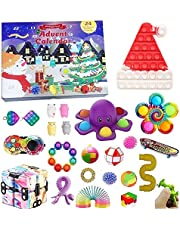 Fidget Toy Adventskalender 2021, Kerst Countdown Kalender 24 dagen Figetsss Toys Sets Stress Relief en Angst Goedkope Fidget Speelgoeddoos voor Kerstmis Kids Gift (Multi-Color 4, One Size)