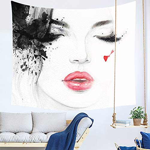 Dorcas Dorm Tapestry Wall Hanging Abstract Line Art Woman Face Tapestry Ink Drawing Illustration White Wall Tapestry Home Decorations Tapestries