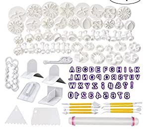 Fondant Molds, 114 Cutters and Fondant Decorating Tools Set,Cake Fondant Tools kit with Rolling Pin,Smoother Embosser Moulds