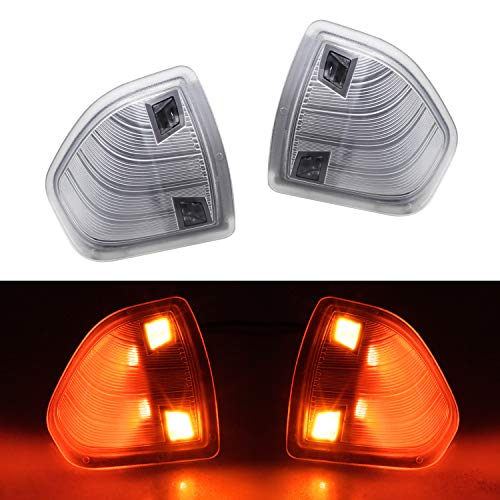 (HERCOO LED Side Mirror Turn Signal Light Left and Right Lamps Clear Cover Lens for 68302828AA 68302829AA Compatible with 2010-2018 Dodge Ram 1500 2500 3500 4500 5500, Pack of)