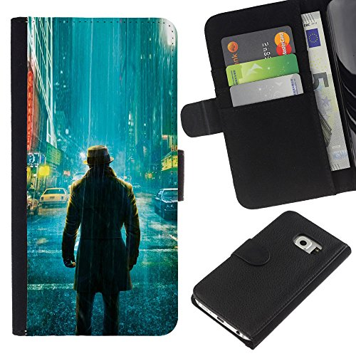 Funny Phone Case // Leather Wallet Protective Case with Slots for Money & Cards fit Samsung Galaxy S6 EDGE /Lonely Watchman Comic/