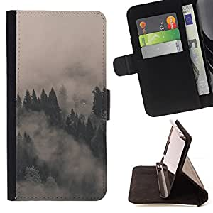 For Samsung Galaxy Core Prime MISTY FOGGY FORREST Leather Foilo Wallet Cover Case with Magnetic Closure