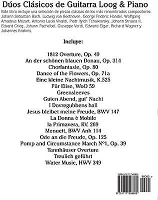 Dúos Clásicos de Guitarra Loog & Piano: Piezas fáciles de Bach ...