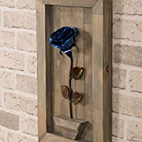 Hand-Forged Wrought Iron Blue Metal Rose with Wood Hanging - Mother's Day Gift