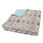 J-pinno Cute Rabbit Reversible Bedding Coverlet Quilt Bedspread Throw Blanket for Kid's Girl Bed Gift, Soft Short Plush Velvet + Washed Cotton