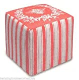 OTTOMANS - NAPOLEONIC BEE UPHOLSTERED OTTOMAN - CORAL LINEN COVER - POUF