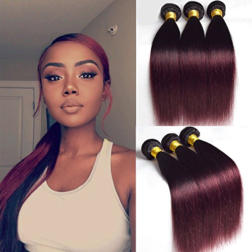 1b 99j Straight 3 Bundles 20 22 24 Inch Ombre Two Tone Burgundy Human Hair Remy Extensions Wine Red t1b Mixed Brazilian Dark Black And Burgundy Weave Sew In Hair - Ombre Weave Human Hair