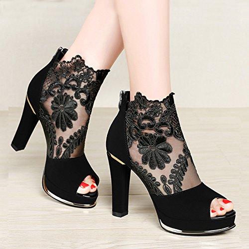 UK1 Nette À SHOESHAOGE Fil Mme Femmes De Talons EU33 Bouche 80 Sandales Une Épaisseur Poisson Chaussures Hauts Chaussures Avec PqnTxq8wtr