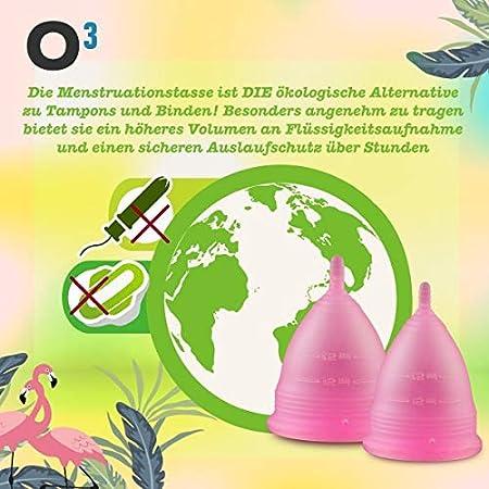 O³ Copa Menstrual - Juego De 2: Talla SYL - Copa Menstrual Con Esterilizador Y Bolsa De Transporte - Copas Menstruales Ecológicas