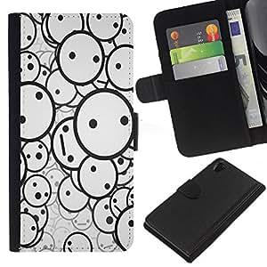 KLONGSHOP // Tirón de la caja Cartera de cuero con ranuras para tarjetas - Smiley Patrón - Sony Xperia Z2 D6502 //