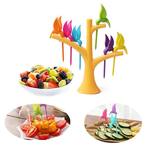 Utility Dessert Fork (NPLE--Creative Bird Fruit Snack Dessert Forks Tree Shape Holder Rack Party Home Decor)