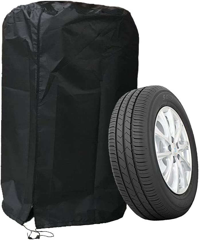 J/&C 80cm Tire Cover Tote Set of 4 Waterproof Dust-Proof Universal Spare Wheel Tire Cover Tyre Protection with 2 Pcs Wheel Felts for SUV Car 19-31 Diameter