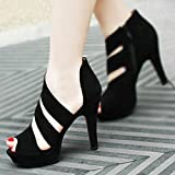 AIMTOPPY HOT Sale, Women's Spring Casual Thin Heels Shoes Peep Toe High-Heeled Shoes (US:6.5, Black)