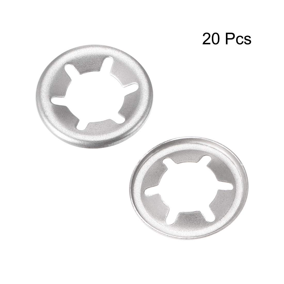 15 mm Outer Diameter Internal Tooth Lock washers Thrust Lock Speed Clip 304 Stainless Steel 20 Pieces M6 Starlock Washer 5.1mm I.D