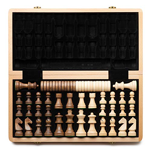 A&A 15inch Folding Wooden Chess & Checkers