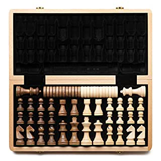 "A&A 15"" Folding Wooden Chess & Checkers Set (2 in 1) w/ 3"" King Height Chess Pieces / 2 Extra Queen / German Knight Staunton Wooden Chessmen / Beech Box w/ Walnut & Maple Inlay / Classic Board Game"