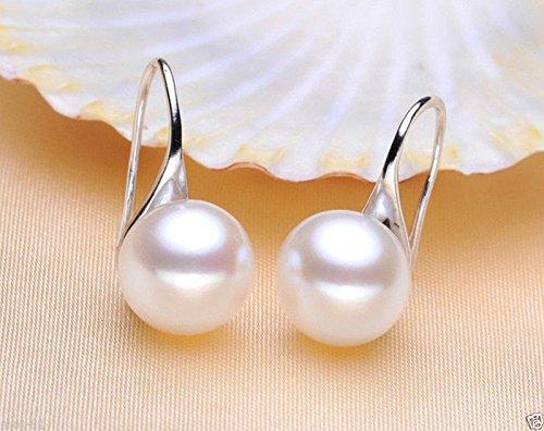 9-10mm Natural White Akoya Freshwater Pearl Sterling Silver Dangle Earrings