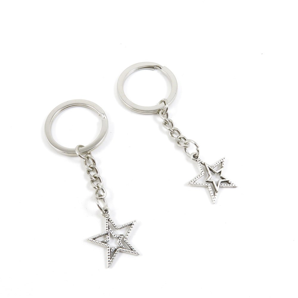 100 Pieces Keychain Door Car Key Chain Tags Keyring Ring Chain Keychain Supplies Antique Silver Tone Wholesale Bulk Lots I6FT2 Five-pointed Star