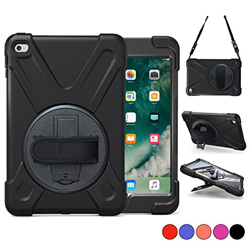 iPad Mini 4 Case, TSQ Carrying Rugged Protective Shockproof Case With 360 Degree Rotating Stand, Hand Handle Grip, Shoulder Strap For Kids Girl Boys Apple Tablet Mini 4 Cover Skin A1538 A1550 Black