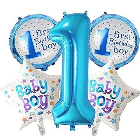 5pcs Happy Birthday Decoration Inflatable Helium Foil Balloons, Baby Boys 1st Birthday Party Air Balloons Set Supplies, Party shower Photo Props Pink Blue Number Number Round Heart - 1st Birthday Balloon