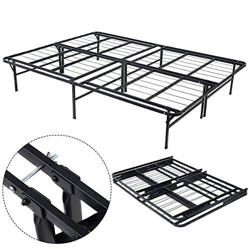 14 ' Inch Base Bed Platform Metal Frame Mattress Foundation Queen Size Black By Allgoodsdelight365