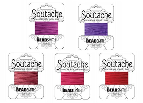 Beadsmith Soutache Braided Rayon Cord / Trim Bundle: 5 Colors, 3mm Wide, 3 Yds per color 'Valentine ()