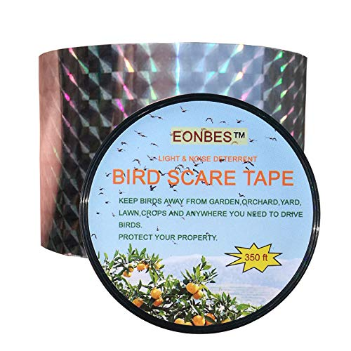 EONBES Bird Deterrent Ribbon Repellent Scare Reflective Tape, Holographic Hawk Pigeon Seagull Sparrow Woodpecker Crow Geese Deterrent Repellent Control Scarer, 350 Feet by 2 Inches