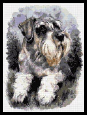 Kit Schnauzer Dog Cross Stitch Chart