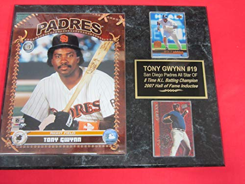 Padres Tony Gwynn 2 Card Collector Plaque #7 w/8x10 Studio - Clubhouse Padres